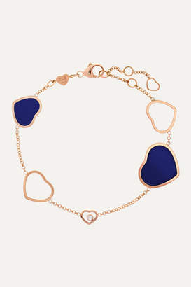 Chopard Happy Hearts 18-karat Rose Gold, Diamond And Lapis Lazuli Bracelet