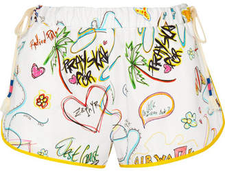 Mira Mikati Printed Cotton-blend Shorts - White