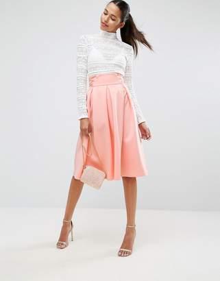 Asos Scuba Prom Skirt with Corset Waist Detail