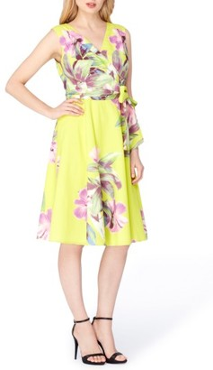 Women's Tahari Print Faux Wrap Dress $118 thestylecure.com
