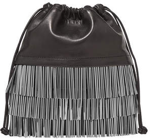 Alexander Wang Ryan Mini Fringed Leather Bucket Bag - Black
