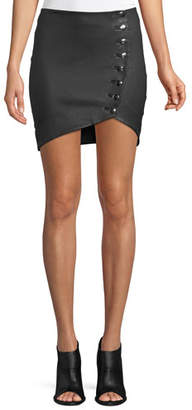 IRO Clefa Leather Button-Up Mini Skirt