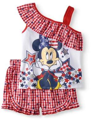 Americana Minnie Mouse Girls' One Shoulder Top And Short 2-Piece Outfit Set