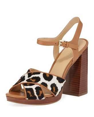 MICHAEL Michael Kors Alexia Leopard-Print Calf Hair Platform Sandals