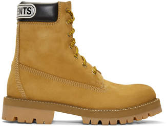 Vetements Beige Suede Logo Cuff Trucker Boots