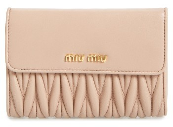 Miu Miu Women's Miu Miu Matelasse Leather French Wallet - Orange