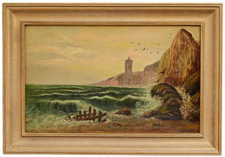 Rejuvenation Oil Painting of Seaside Monastery w/ Original Frame