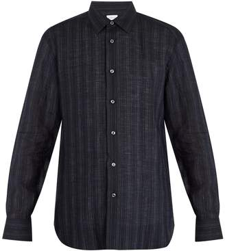 Brioni Single-cuff striped linen shirt