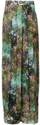 Max Mara garden-print flared trousers