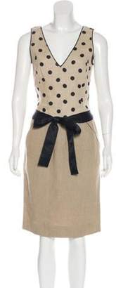 Valentino Polka Dot Midi Dress Tan Polka Dot Midi Dress
