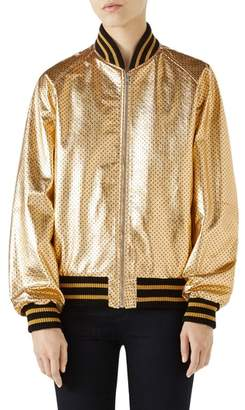 Gucci Metallic Perforated Leather Bomber Jacket