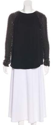 3.1 Phillip Lim Silk Beaded-Accented Long Sleeve Top