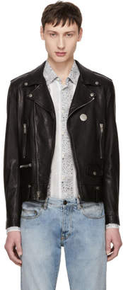 Saint Laurent Black Classic Pin Moto Jacket