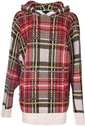 R 13 Multi Plaid Hooded Sweater
