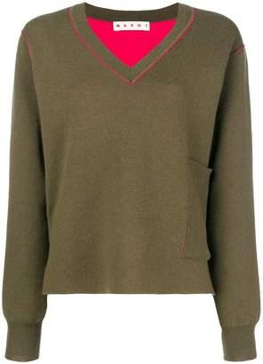 Marni V-neck pocket sweater