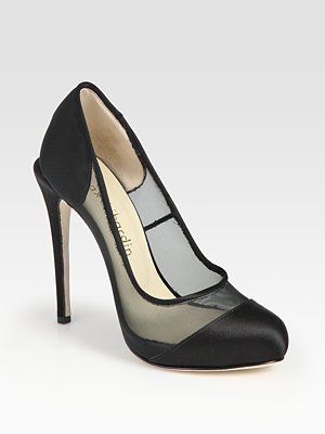 Satin And Mesh Platform Pumps