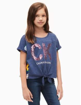 Calvin Klein girls logo floral burst tie knot t-shirt