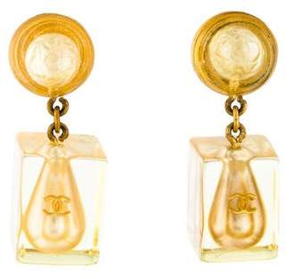 Chanel Resin & Faux Pearl Hologram Clip-On Earrings