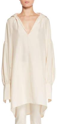 The Row Darma Deep-V Long-Sleeve Silk Tunic Top