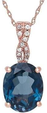 Lord & Taylor Diamond, London Blue Topaz and 14K Rose Gold Pendant Necklace