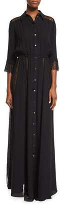 Michael Kors Lace-Inset Button-Front Gown, Black