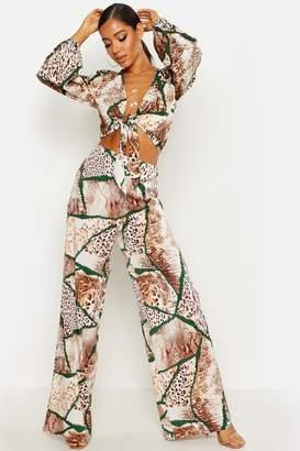 1ee19f56d8 boohoo Woven Mixed Animal Print Wide Leg Trouser