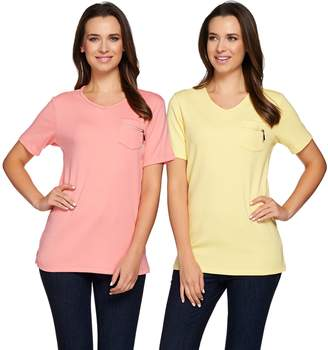 Factory Quacker Set of 2 Short Sleeve T-shirts with Zipper Detail