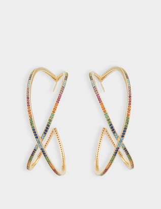 Joanna Laura Constantine Set Of Two Large Criss Cross Rainbow Hoop Earrings in Gold-Plated Brass with Multicolored Stones