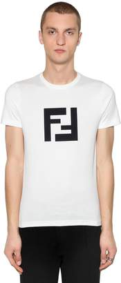 Fendi Slim Ff Rubberized Print Jersey T-Shirt