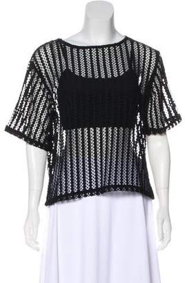 KENDALL + KYLIE Short Sleeve Open-Knit Top w/ Tags