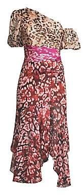 AMUR Women's Jaylah Silk Chiffon One-Shouldered Dress