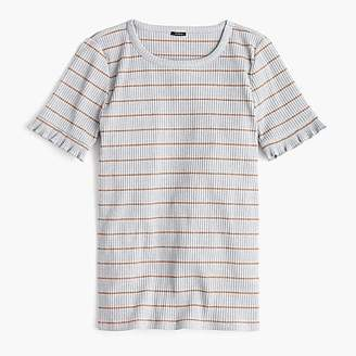 J.Crew Ribbed striped T-shirt with ruffled sleeves