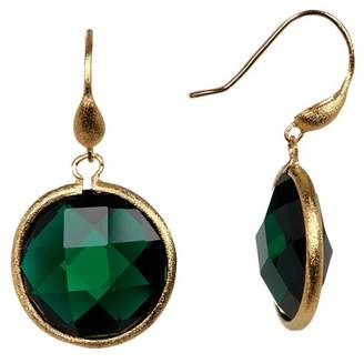 Rivka Friedman Faceted Emerald Crystal Satin Round Single Dangle Earrings