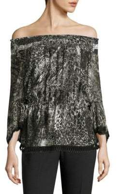 Elie Tahari Zoia Off-The-Shoulder Printed Blouse