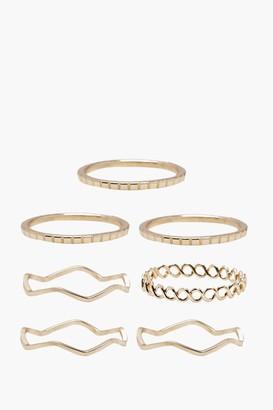 boohoo Delicate Rings 7 Pack