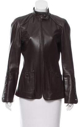 Oscar de la Renta Leather Zip-Up Jacket