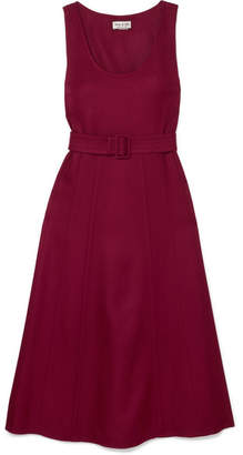 Paul & Joe Belted Wool-blend Twill Midi Dress - Burgundy
