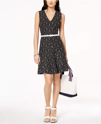 Tommy Hilfiger Belted Lace Dress, Created for Macy's