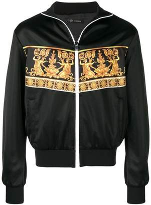Versace baroque print zipped sweatshirt