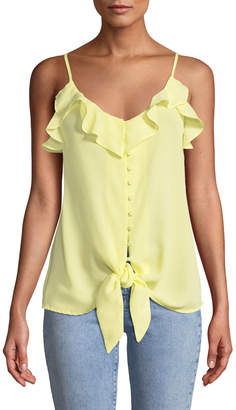 Dex Button-Front Cami Top with Ruffles & Tie