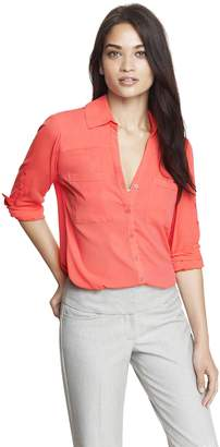 Express Women's Convertible Sleeve Portofino Shirt (L, )
