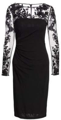 David Meister Long-Sleeve Illusion Cocktail Dress