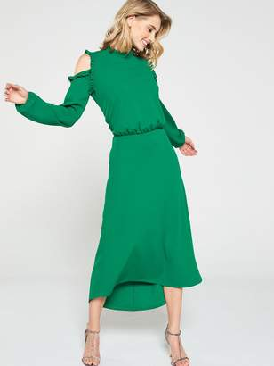 Very Ruffle Cold Shoulder Dress - Apple Green