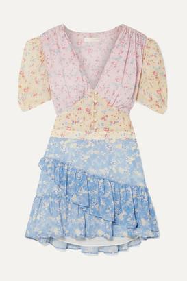 LoveShackFancy Bea Ruffled Floral-print Silk-georgette Mini Dress - Baby pink