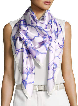 Anna Coroneo Silk Satin Square Water Scarf, Blue