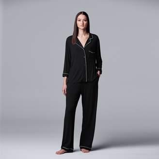 Vera Wang Women's Simply Vera Pajamas: Basic Luxury Notch Pajama Set