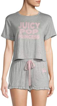 Juicy Couture Women's Two-Piece Ruffled Shorty Pajama Set