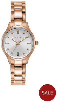 Ted Baker Rose Gold Tone Stainless Steel Bracelet Ladies Watch