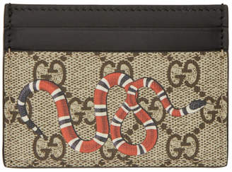 Gucci Beige and Black GG Supreme Snake Card Holder