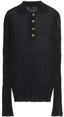 Ellery Mountain Angel Ribbed Linen-Blend Polo Shirt